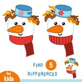 Find differences, education game, Snowman. Find differences, education game for children, Snowman Stock Photo