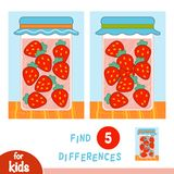 Find differences, education game, Strawberry in jar. Find differences, education game for children, Strawberry in jar vector illustration