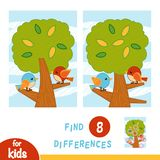 Find differences, education game. A summer day. The birds in the tree. Find differences, education game for children. A summer day. The birds in the tree royalty free illustration