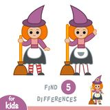 Find differences, education game, Witch. Find differences, education game for children, Witch vector illustration