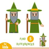 Find differences, education game, Wizard. Find differences, education game for children, Wizard Stock Photography