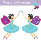 Find the differences educational children game. Kids activity sheet. Beautiful flying fairy. Find the differences educational children game with answer. Kids Royalty Free Stock Photography