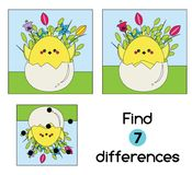 Find the differences educational children game. Kids activity sheet with Chicken in egg. Easter theme. Find the differences educational children game with answer stock illustration
