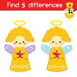 Find the differences educational children game. Kids activity sheet with angels. Christmas, New Year theme. Find the differences educational children game with stock illustration