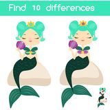 Find the differences educational children game. Kids activity sheet with cute mermaid. Find the differences educational children game with answer. Kids activity Stock Photo