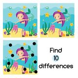 Find the differences educational children game. Kids activity sheet with cute mermaid underwater. Find the differences educational children game with answer Stock Images