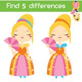 Find the differences educational children game. Kids activity sheet with cute princess. Find the differences educational children game with answer. Kids activity Stock Photos