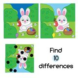 Find the differences educational children game. Kids activity sheet with Egg hunt rabbit. Easter theme. Find the differences educational children game with Stock Photography