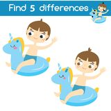 Find the differences educational children game. Kids activity sheet with summer boy. Find the differences educational children game with answer. Kids activity Royalty Free Stock Image