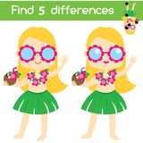 Find the differences educational children game. Kids activity sheet with summer beach girl. Find the differences educational children game with answer. Summer Stock Photos