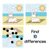 Find the differences educational children game. Kids activity sheet with summer rabbit. Find the differences educational children game with answer. Summer rabbit Royalty Free Stock Images