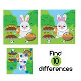 Find the differences educational children game.. Find the differences educational children game with answer. Kids activity sheet with rabbit in the garden Stock Photography