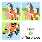 Find the differences educational children game. Kids activity with cartoon farm animals