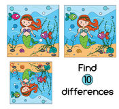 Find the differences educational children game. Kids activity sheet. Find the differences educational children game with answer. Kids activity sheet. Vector Stock Photos