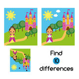 Find the differences educational children game. Kids activity sheet with beautiful girl princess Royalty Free Stock Photos