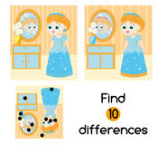 Find the differences educational children game. Kids activity sheet with beautiful girl princess Stock Photography