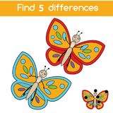 Find the differences educational children game. Kids activity sheet with butterfly. Find the differences educational children game with answer. Kids activity vector illustration