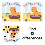 Find the differences educational children game. Kids activity sheet with cat. Find the differences educational children game with answer. Kids activity sheet Royalty Free Stock Images