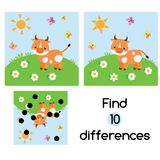 Find the differences educational children game. Kids activity sheet with cow on meadow. Find the differences educational children game with answer. Kids activity Royalty Free Stock Photo
