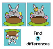 Find the differences educational children game. Kids activity sheet, with cute Easter bunny character Royalty Free Stock Photos
