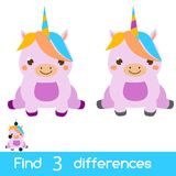 Find the differences educational children game. Kids activity sheet with cute unicorn. Find the differences educational children game with answer. Kids activity Stock Images