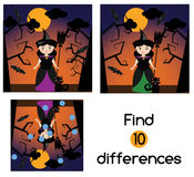 Find the differences educational children game. Kids activity sheet, with halloween witch character. Find the differences educational children game with answer Stock Image