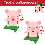 Find the differences educational children game. Kids activity sheet with new year pig Stock Illustration