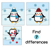 Find the differences educational children game. Kids activity sheet, with penguin. winter theme. Find the differences educational children game with answer. Kids Stock Photo