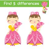 Find the differences educational children game. Kids activity sheet with princess character. Find the differences educational children game with answer. Kids Stock Photography