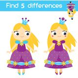 Find the differences educational children game. Kids activity sheet with princess character. Find the differences educational children game with answer. Kids Royalty Free Stock Photos