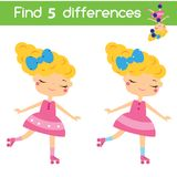 Find the differences educational children game. Kids activity sheet with roller skating girl. Find the differences educational children game with answer. Kids Royalty Free Stock Photo