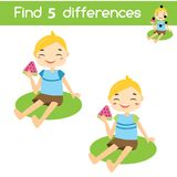 Find the differences educational children game. Kids activity sheet with summer boy eating watermelon. Find the differences educational children game with answer Stock Images