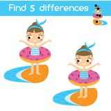 Find the differences educational children game. Kids activity sheet with summer holidays theme. Find the differences educational children game with answer. Kids Stock Photography