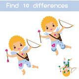 Find the differences educational children game. Kids activity sheet with Valentines day Cupid angel. Find the differences educational children game with answer Stock Image
