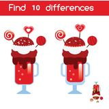Find the differences educational children game. Kids activity sheet with Valentines milkshake. Find the differences educational children game with answer. Kids Royalty Free Stock Photography