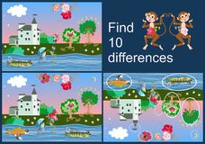 Find differences. Educational game for children. Beautiful picture with castle, fun fish, cheerful monkey and apple-trees. Find differences. Educational game stock illustration