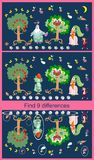 Find differences. Educational game for children. Cute picture with cheerful apple-trees, cucumber, eggplant and carrot.  Stock Photography
