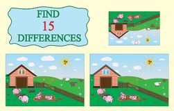 Find differences. Educational game for children. Farm, pigs, sheep. Vector illustration Stock Photo