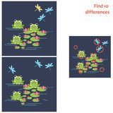 Find 10 differences. Educational game for children. Frog with lily and dragonfly. Find 10 differences. Educational game for children. Cartoon vector Royalty Free Stock Photography