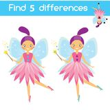 Find the differences educational game. Kids activity sheet with cartoon flying fairy.  Stock Photos