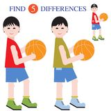 Find 5 differences.Educational games for children. Boys basketball players with a ball. Find 5 differences. Educational games for children Stock Image