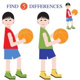 Find 5 differences.Educational games for children. Boys basketball players with a ball. Find 5 differences. Educational games for children Stock Photos