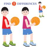 Find 5 differences.Educational games for children. Boys basketball players with a ball. Find 5 differences. Educational games for children Royalty Free Stock Images