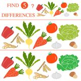 Find 5 differences.Educational games for children. Vegetables: soya beans, tomato, turnip, garlic, carrots, hazelnut, cabbage, pepper. Find 5 differences Royalty Free Stock Photography