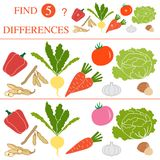 Find 5 differences.Educational games for children. Vegetables: soya beans, tomato, turnip, garlic, carrots, hazelnut, cabbage, pepper. Find 5 differences Royalty Free Stock Photo
