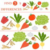 Find 5 differences.Educational games for children. Vegetables: soya beans, tomato, turnip, garlic, carrots, hazelnut, cabbage, pepper. Find 5 differences Stock Image