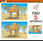 Find differences educational task. Cartoon Illustration of Finding Differences Educational Task for Preschool Children with Camel Animal Character Royalty Free Stock Photos