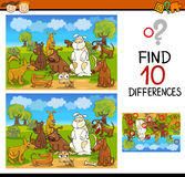 Find differences educational task. Cartoon Illustration of Find Differences Educational Task for Preschool Children with Funny Dogs Stock Images