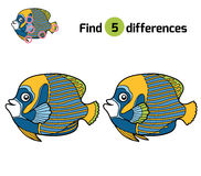 Find differences, Emperor angelfish. Find differences, education game for children, Emperor angelfish Royalty Free Stock Photos