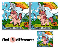 Find differences. Fairy unicorn and rainbow. Find differences, education game for children. Fairy unicorn and rainbow Royalty Free Stock Image